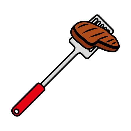 spatule with meat beef vector illustration design Çizim