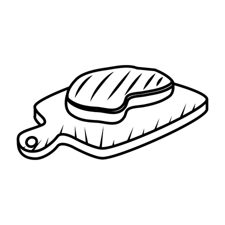 meat beef in wooden board vector illustration design Çizim