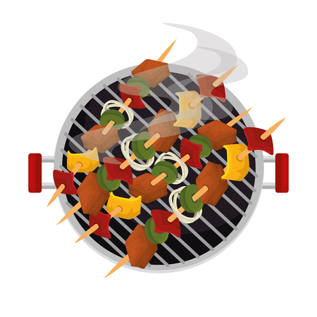 oven grill with meat skewers vector illustration design Illustration