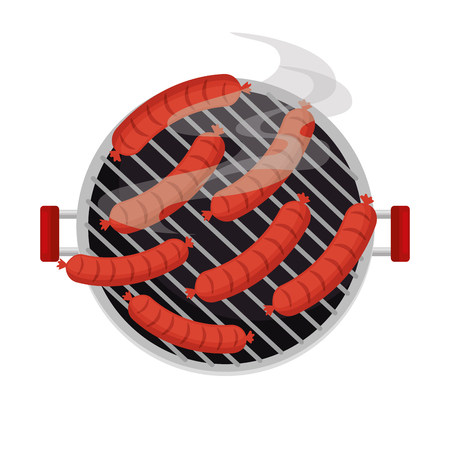 oven grill with sausages vector illustration design