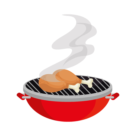 oven grill with chicken thighs vector illustration design