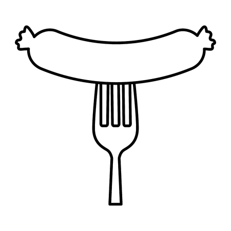 fork with delicious sausage bbq vector illustration design 向量圖像