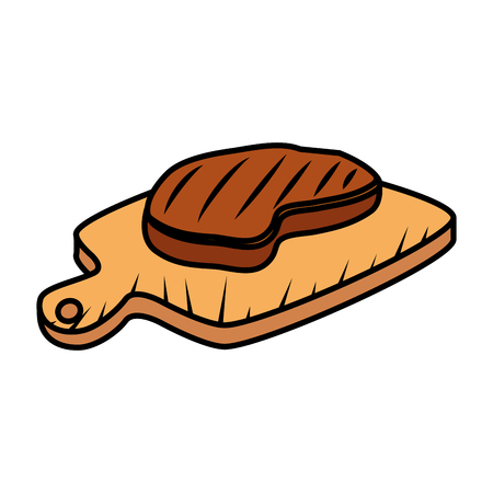 meat beef in wooden board vector illustration design  イラスト・ベクター素材