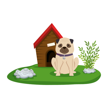 cute dog with house wooden in the grass vector illustration design Illustration