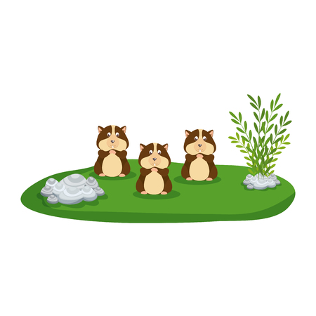 cute family hamsters in the park vector illustration design