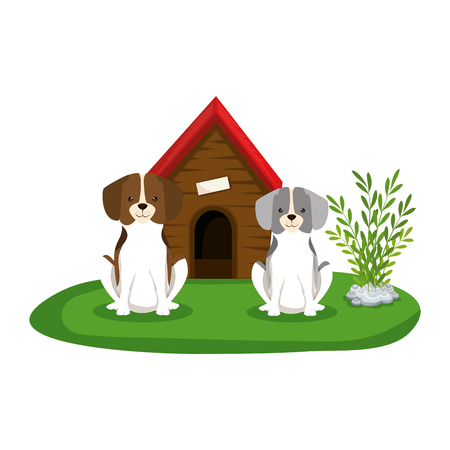 cute dogs with house wooden in the grass vector illustration design Stock Vector - 127476005