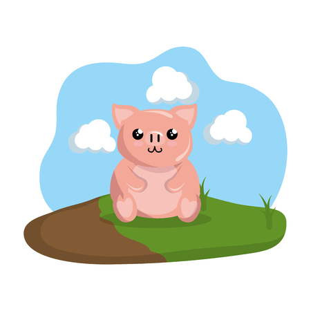cute pig in the camp vector illustration design