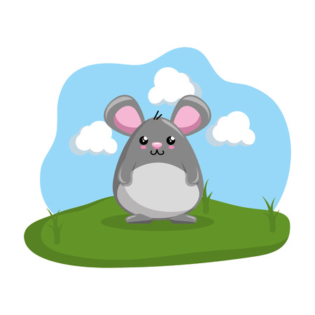 cute mouse in the camp vector illustration design