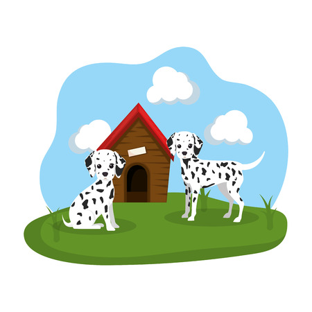 cute dogs with house wooden in the grass vector illustration design Stock Vector - 112457327