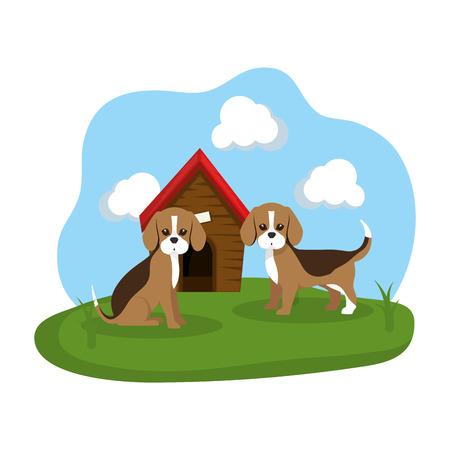 cute dogs with house wooden in the grass vector illustration design Stock Vector - 127476037