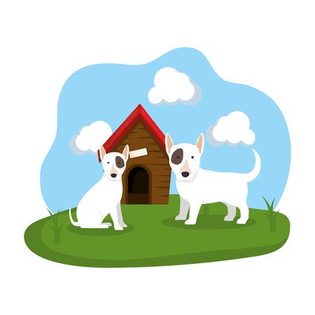 cute dogs with house wooden in the grass vector illustration design Stock Illustratie