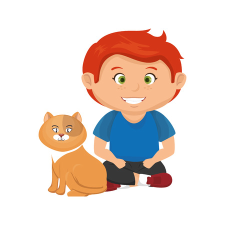cute little boy with cat character vector illustration design Standard-Bild - 112459428