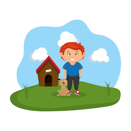 cute dog and boy with house wooden vector illustration design
