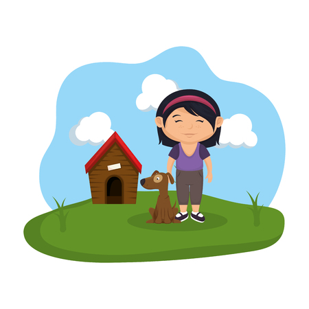 cute dog and girl with house wooden vector illustration design