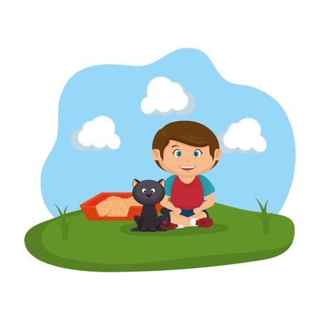 cute cat and boy with sandbox vector illustration design Stock Illustratie