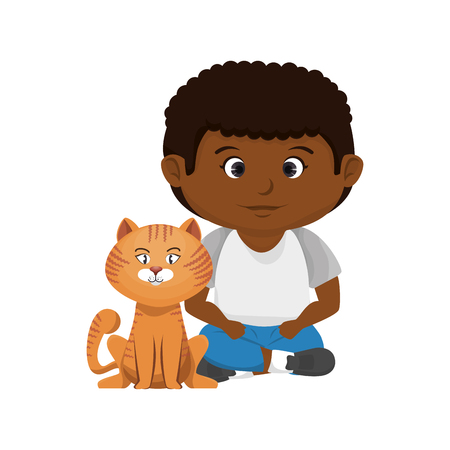 cute little boy with cat character vector illustration design Vettoriali