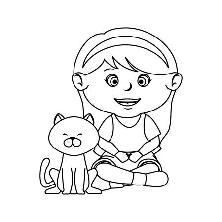 beautiful little girl with cat vector illustration design Standard-Bild - 127476067