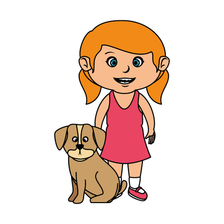 beautiful little girl with dog vector illustration design