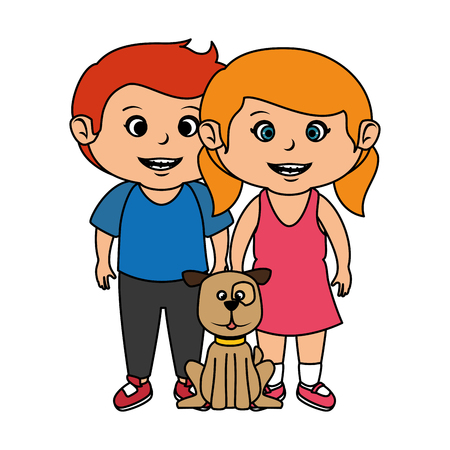 cute little kids couple with dog vector illustration design Vettoriali