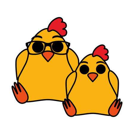 cute chickens couple characters vector illustration design
