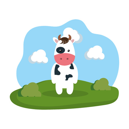 cute cow in the camp vector illustration design
