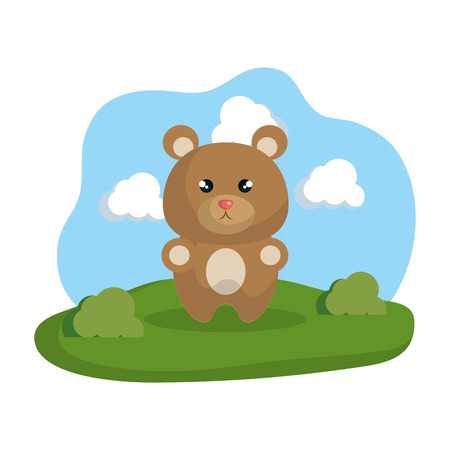 cute bear in the camp vector illustration design