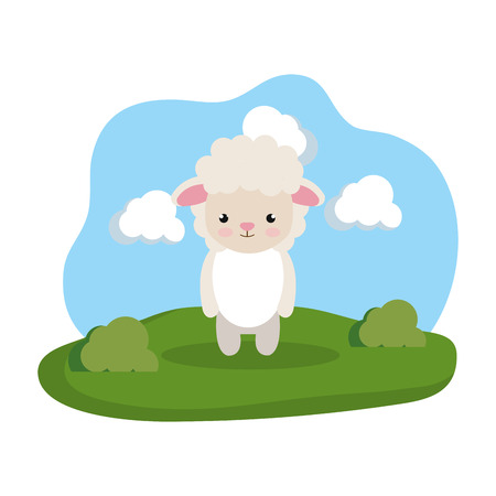 cute sheep in the camp vector illustration design