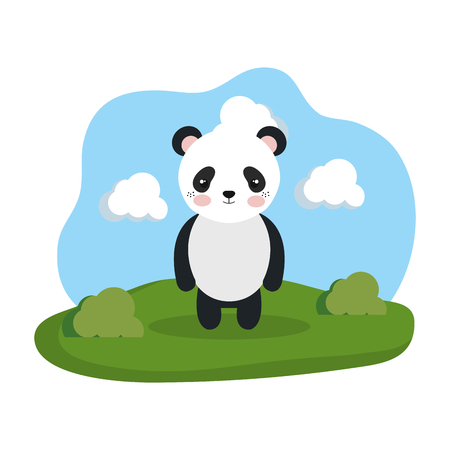 cute bear panda in the camp vector illustration design 向量圖像