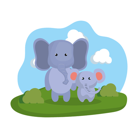 cute elephants couple in the camp vector illustration design