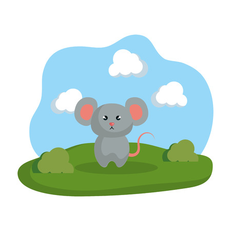 cute elephant in the camp vector illustration design