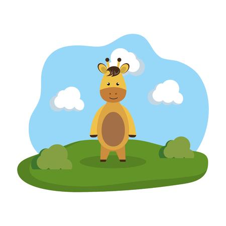 cute giraffe in the camp vector illustration design