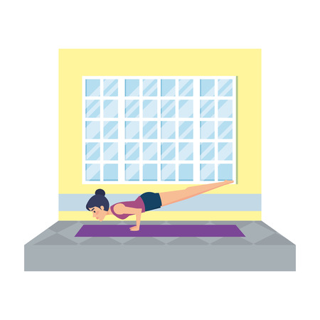 woman practicing yoga in the gym vector illustration design Illustration