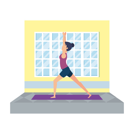 woman practicing yoga in the gym vector illustration design Stock Illustratie