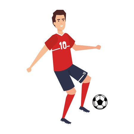man practicing soccer football vector illustration design