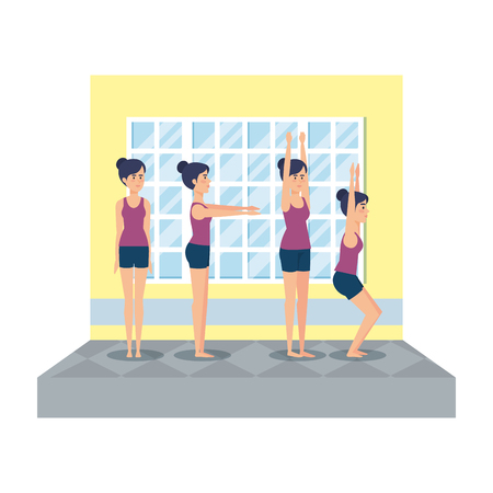 group of girls practicing yoga in the gym vector illustration design