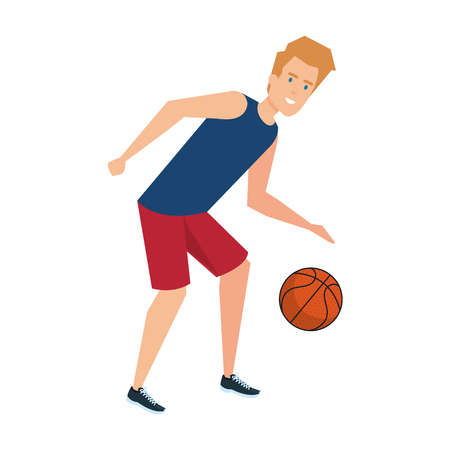 man practicing basketball character vector illustration design 일러스트