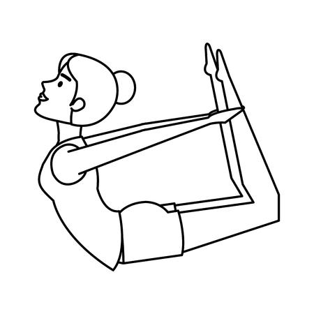 woman practicing yoga position vector illustration design