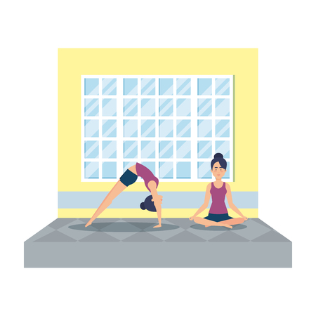 couple of girls practicing yoga in the gym vector illustration design