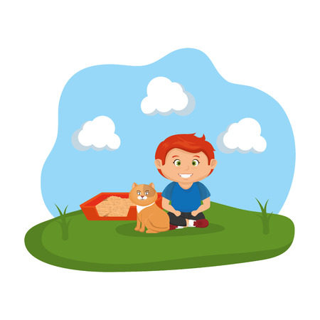 cute cat and boy with sandbox vector illustration design Illustration