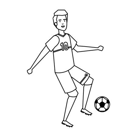 man practicing soccer football vector illustration design