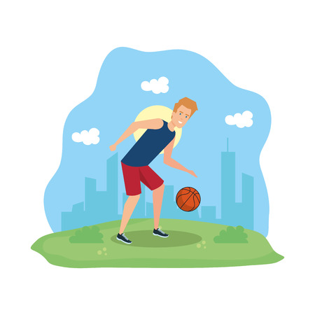 man practicing basketball character vector illustration design Illustration