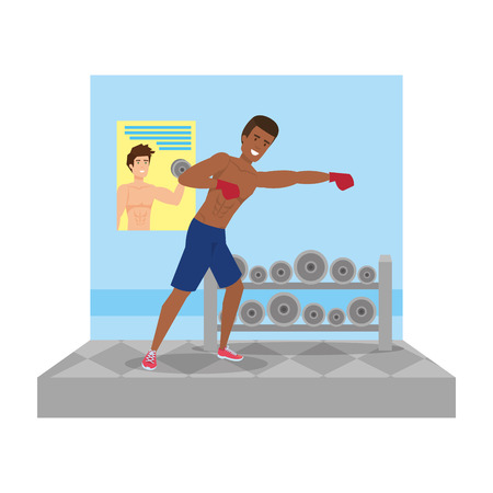 man practicing boxing character vector illustration design 일러스트