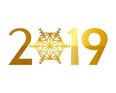 golden time clock and 2019 number vector illustration design