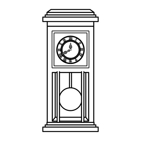 old time clock antique wooden vector illustration design