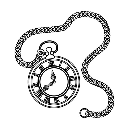 old time clock antique with chain vector illustration design