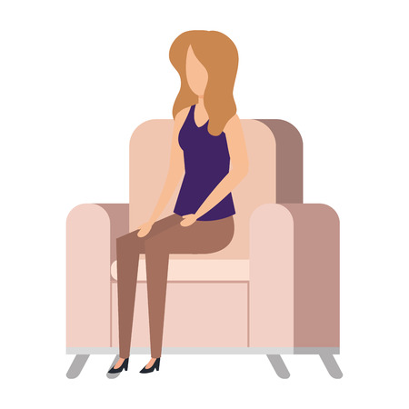 woman sitting in sofa livingroom vector illustration design
