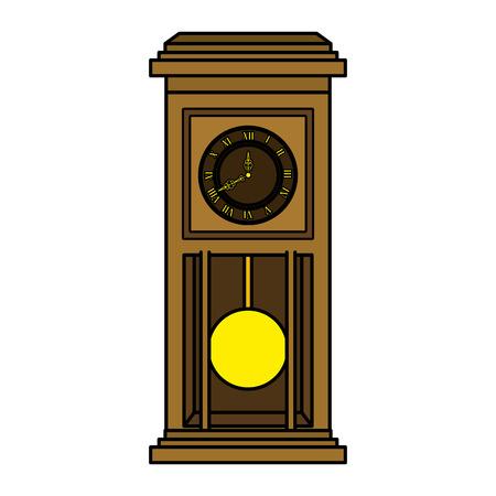 old time clock antique wooden vector illustration design