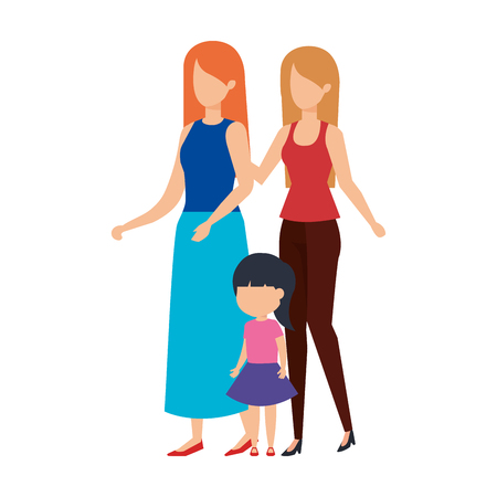 lesbian couple with daughter vector illustration design