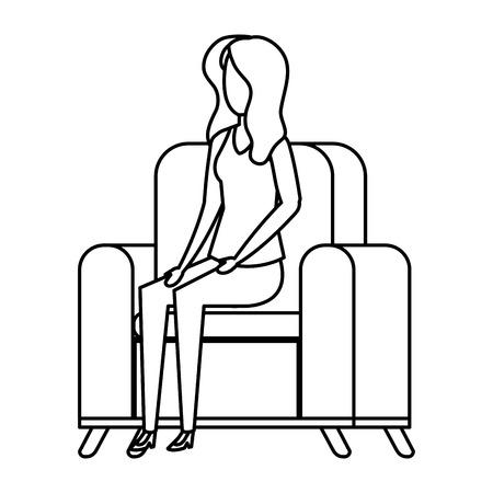 woman sitting in sofa livingroom vector illustration design