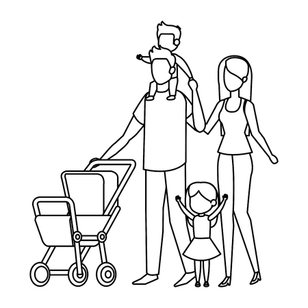 parents couple with cart baby characters vector illustration design